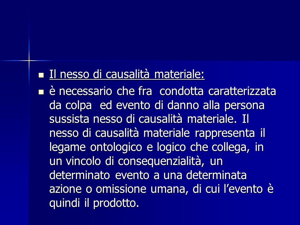 Il nesso di causalità materiale: