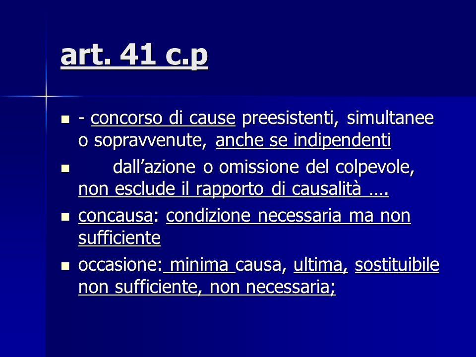 art. 41 c.p- concorso di cause preesistenti, simultanee o sopravvenute, anche se indipendenti.