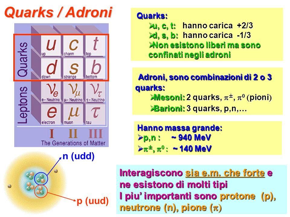 Quarks / Adroni Adroni, sono combinazioni di 2 o 3 quarks: Quarks: