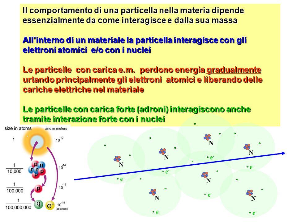 Il comportamento di una particella nella materia dipende essenzialmente da come interagisce e dalla sua massa