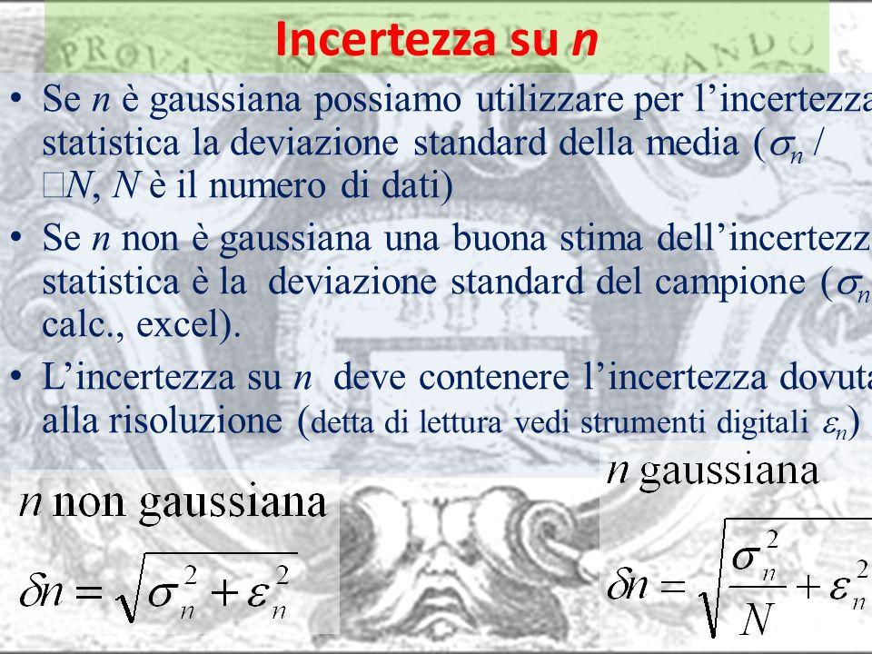 Incertezza su nSe n è gaussiana possiamo utilizzare per l'incertezza statistica la deviazione standard della media (sn / ÖN, N è il numero di dati)