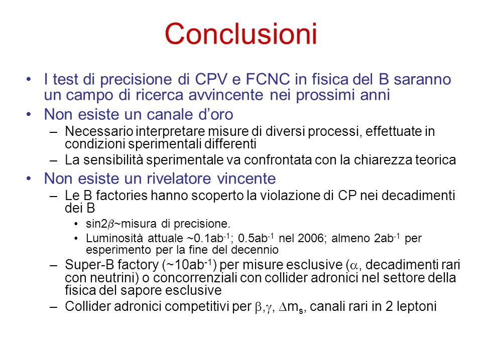Conclusioni I test di precisione di CPV e FCNC in fisica del B saranno un campo di ricerca avvincente nei prossimi anni.