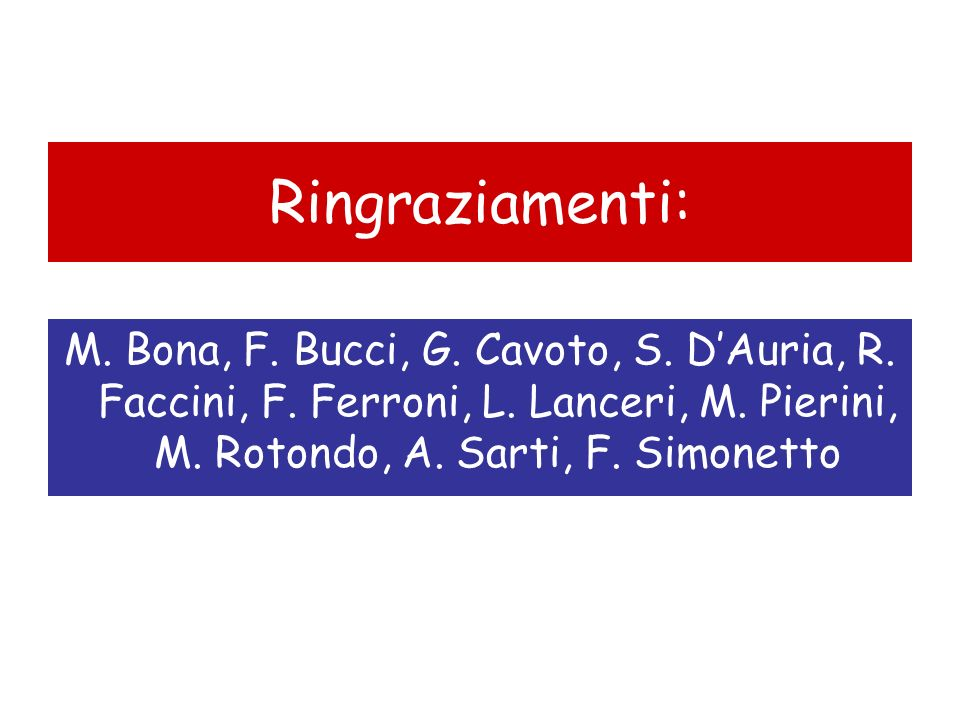 Ringraziamenti: M. Bona, F. Bucci, G. Cavoto, S.