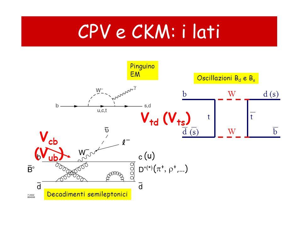 CPV e CKM: i lati Vtd (Vts) Vcb (Vub) b W d (s) t t d (s) W b (u)