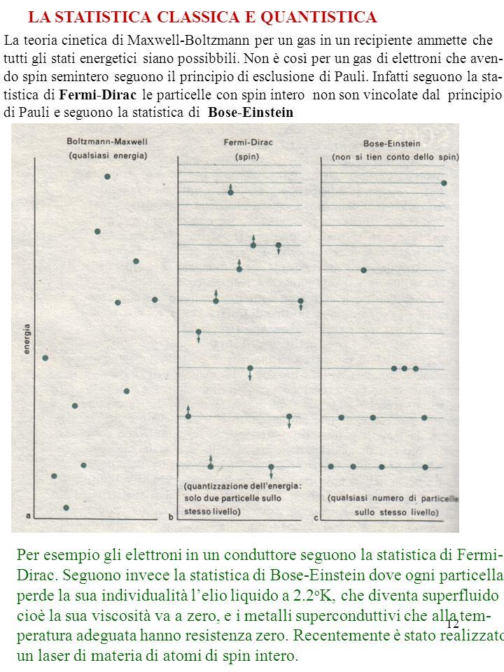 LA STATISTICA CLASSICA E QUANTISTICA