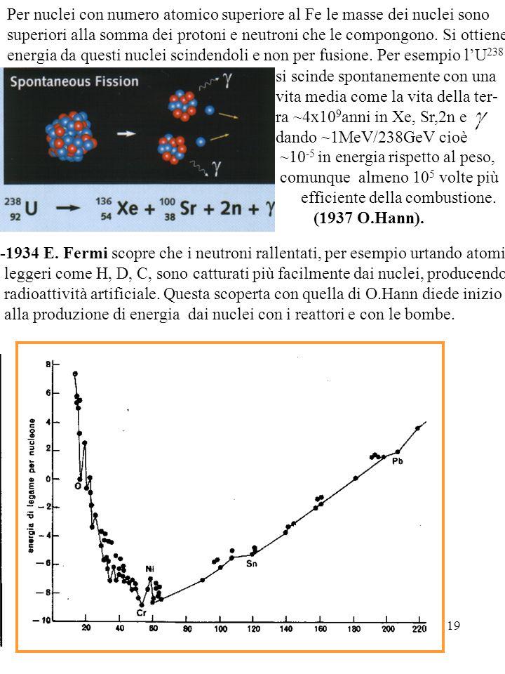 Per nuclei con numero atomico superiore al Fe le masse dei nuclei sono