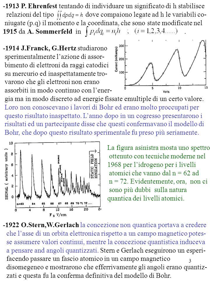 -1913 P. Ehrenfest tentando di individuare un significato di h stabilisce