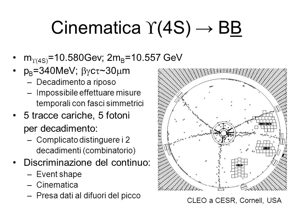 Cinematica (4S) → BB m(4S)=10.580Gev; 2mB= GeV