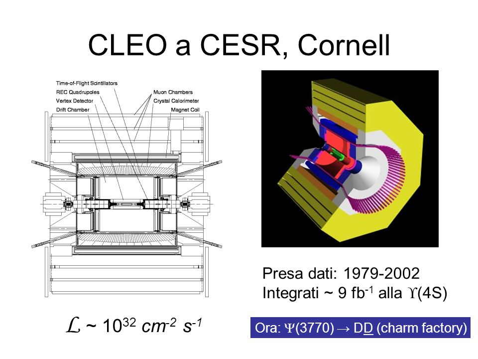 CLEO a CESR, Cornell L ~ 1032 cm-2 s-1 Presa dati: 1979-2002