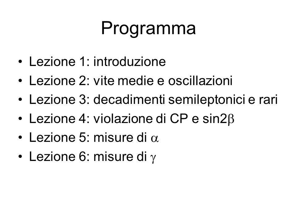 Programma Lezione 1: introduzione Lezione 2: vite medie e oscillazioni