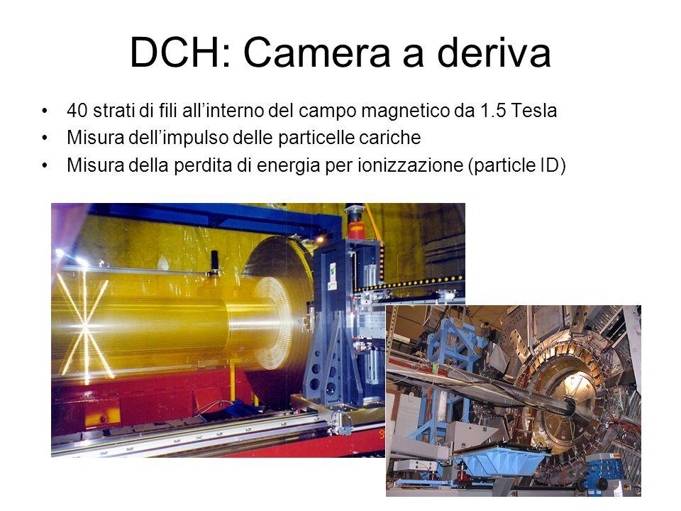 DCH: Camera a deriva 40 strati di fili all'interno del campo magnetico da 1.5 Tesla. Misura dell'impulso delle particelle cariche.