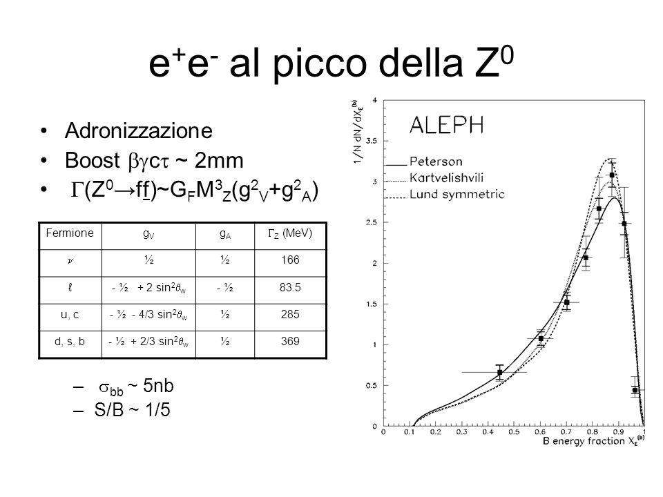 e+e- al picco della Z0 Adronizzazione Boost bgct ~ 2mm