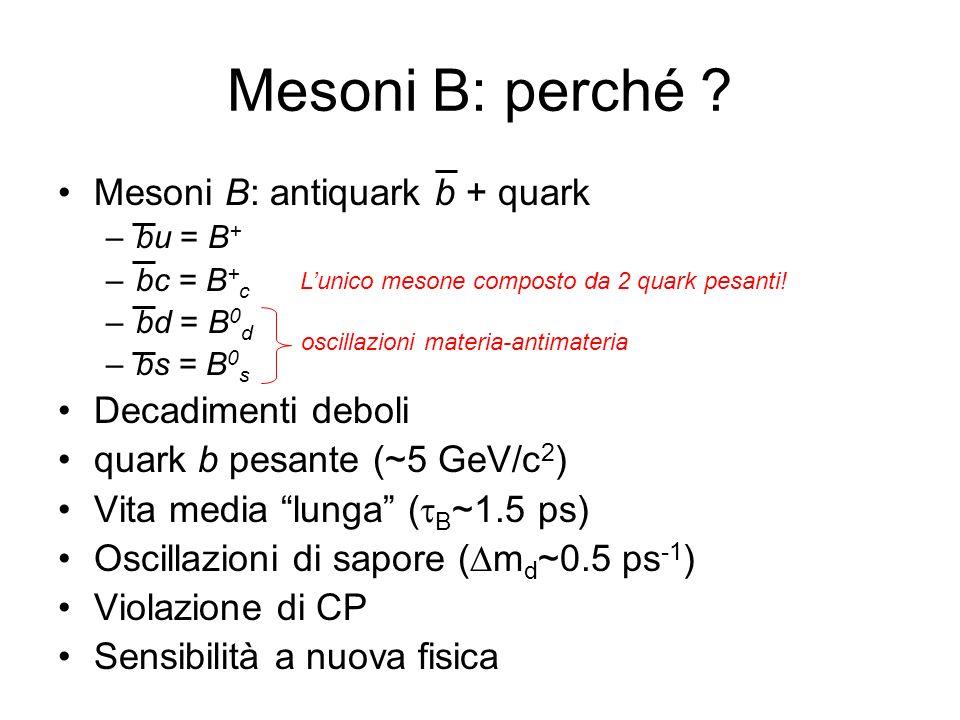 Mesoni B: perché Mesoni B: antiquark b + quark Decadimenti deboli