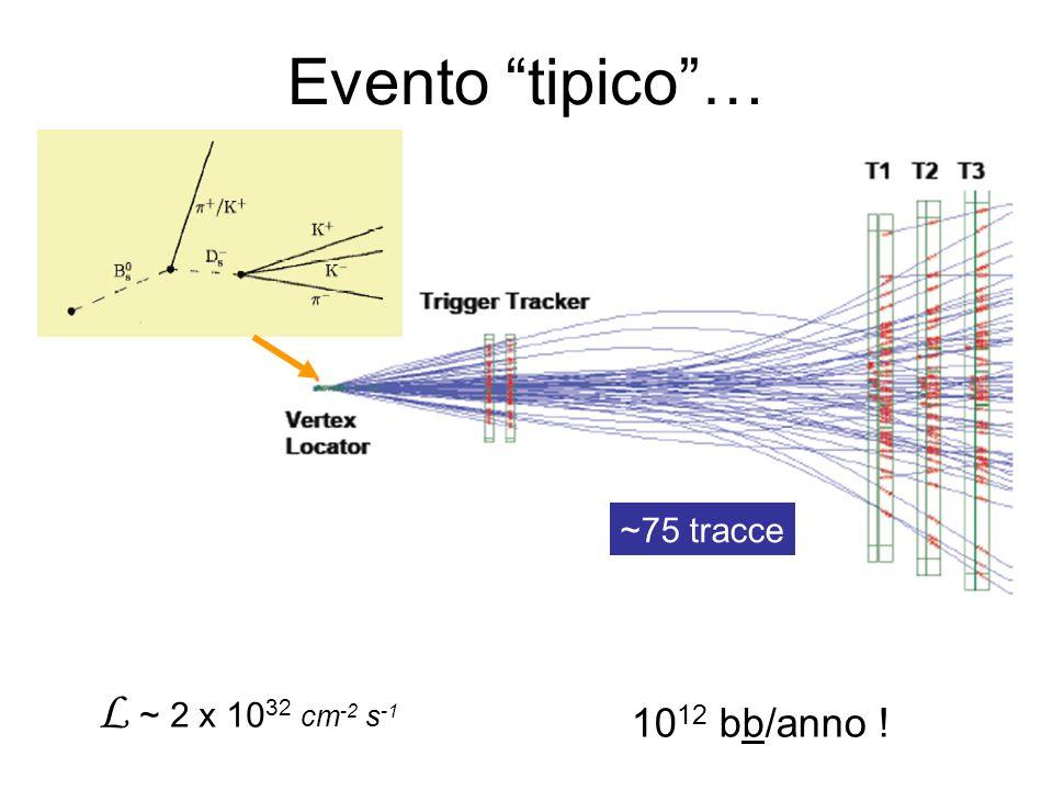 Evento tipico … ~75 tracce L ~ 2 x 1032 cm-2 s-1 1012 bb/anno !