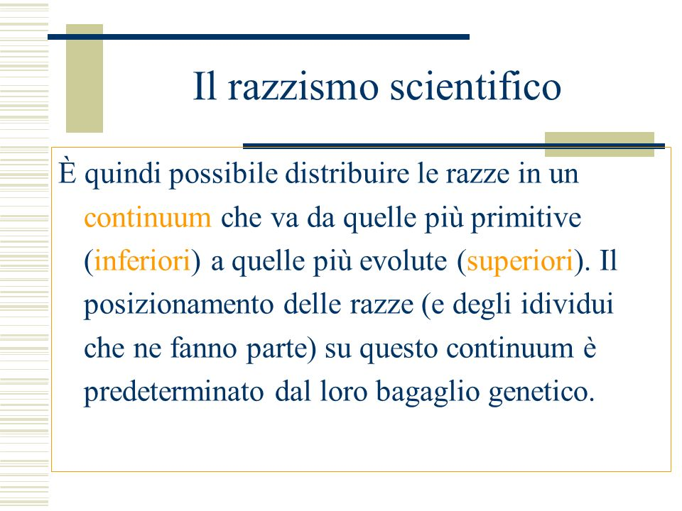 Il razzismo scientifico