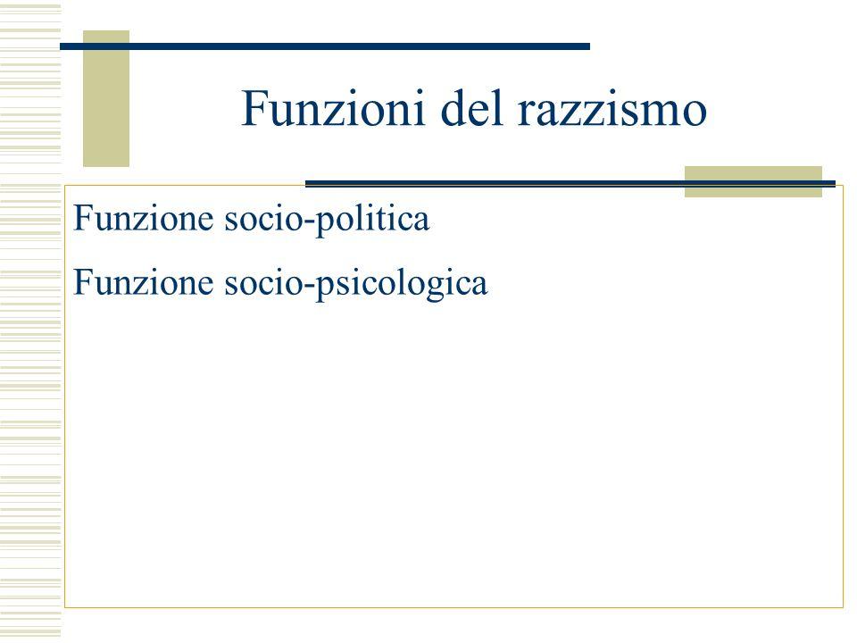 Funzioni del razzismo Funzione socio-politica