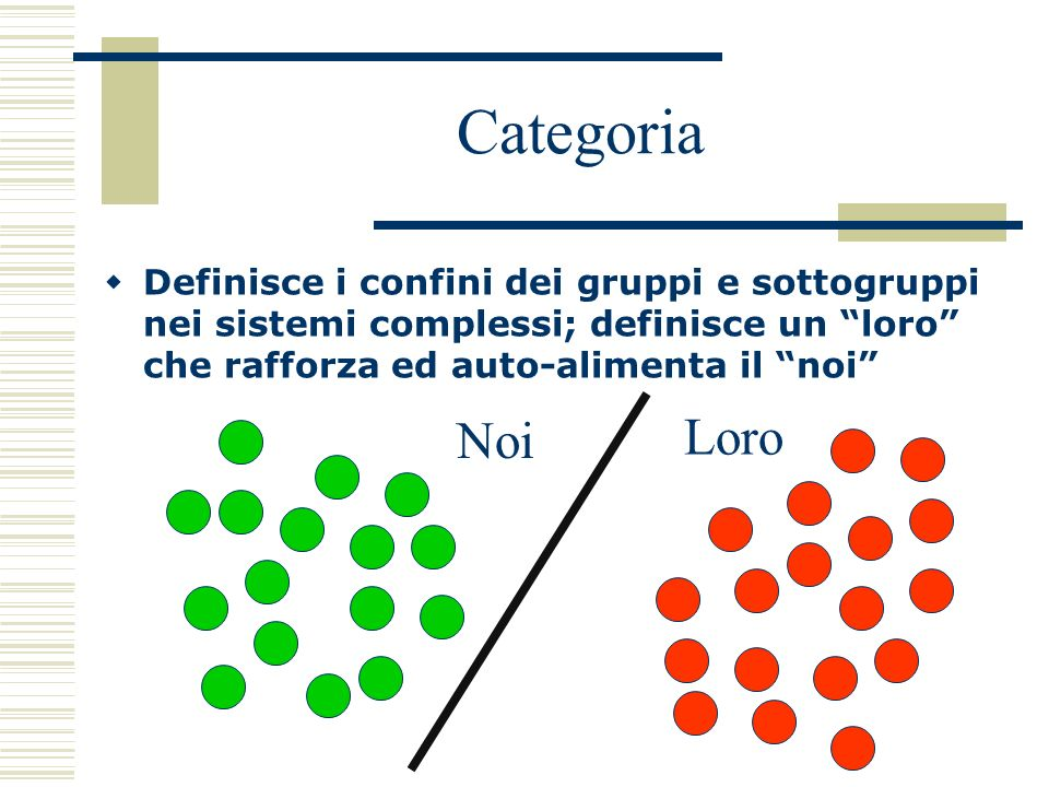 Categoria Definisce i confini dei gruppi e sottogruppi nei sistemi complessi; definisce un loro che rafforza ed auto-alimenta il noi