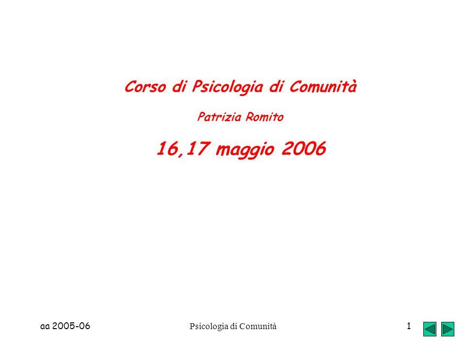 Corso di Psicologia di Comunità Patrizia Romito 16,17 maggio 2006