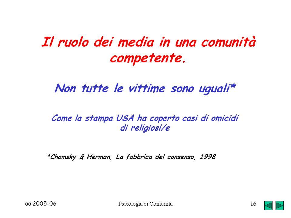 Il ruolo dei media in una comunità competente.