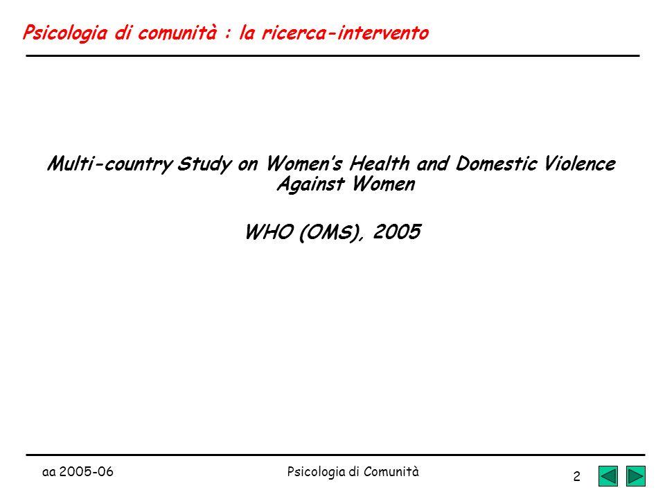 Psicologia di comunità : la ricerca-intervento