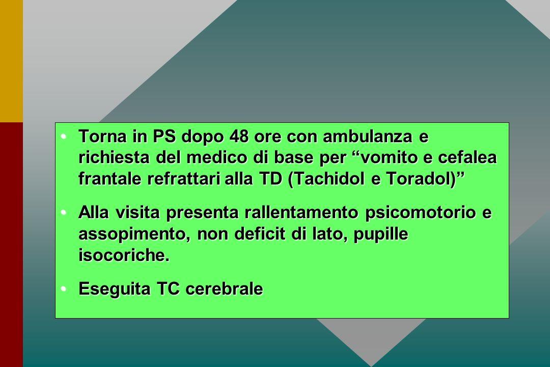 Torna in PS dopo 48 ore con ambulanza e richiesta del medico di base per vomito e cefalea frantale refrattari alla TD (Tachidol e Toradol)