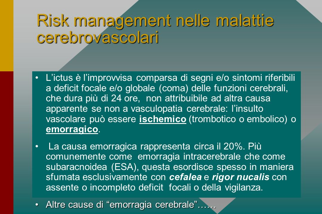 Risk management nelle malattie cerebrovascolari