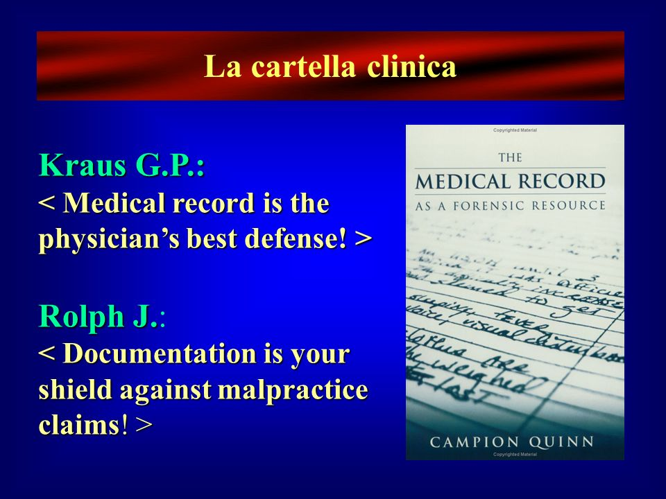 La cartella clinica Kraus G.P.: Rolph J.: