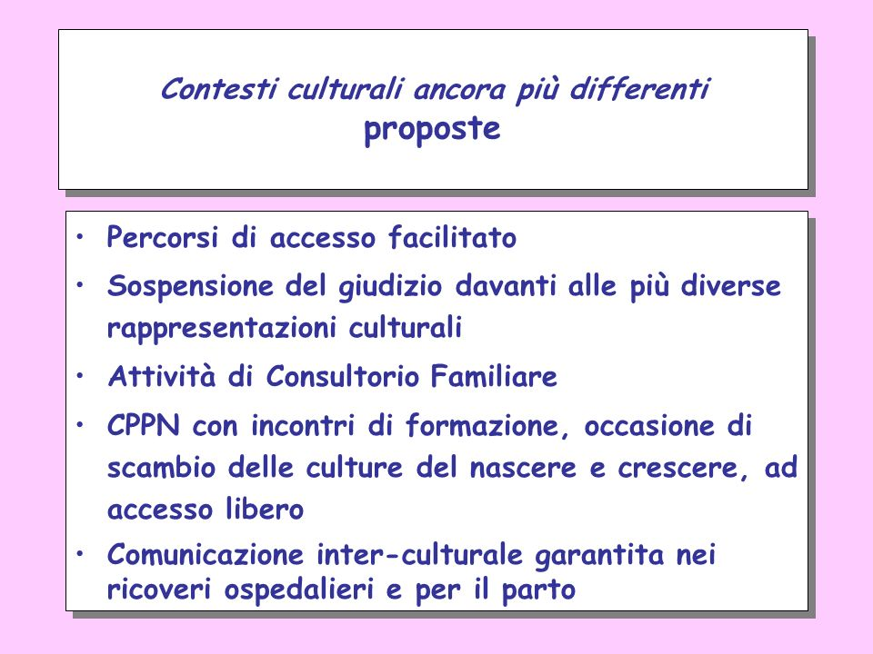 Contesti culturali ancora più differenti proposte