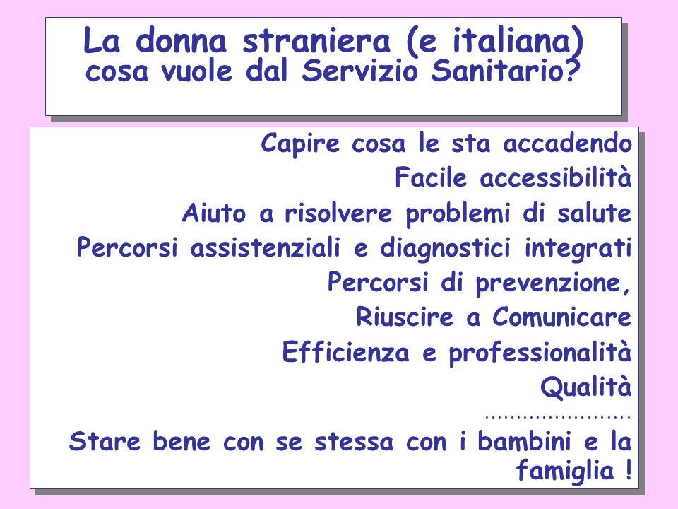 La donna straniera (e italiana) cosa vuole dal Servizio Sanitario