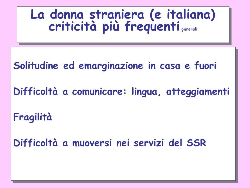 La donna straniera (e italiana) criticità più frequenti generali