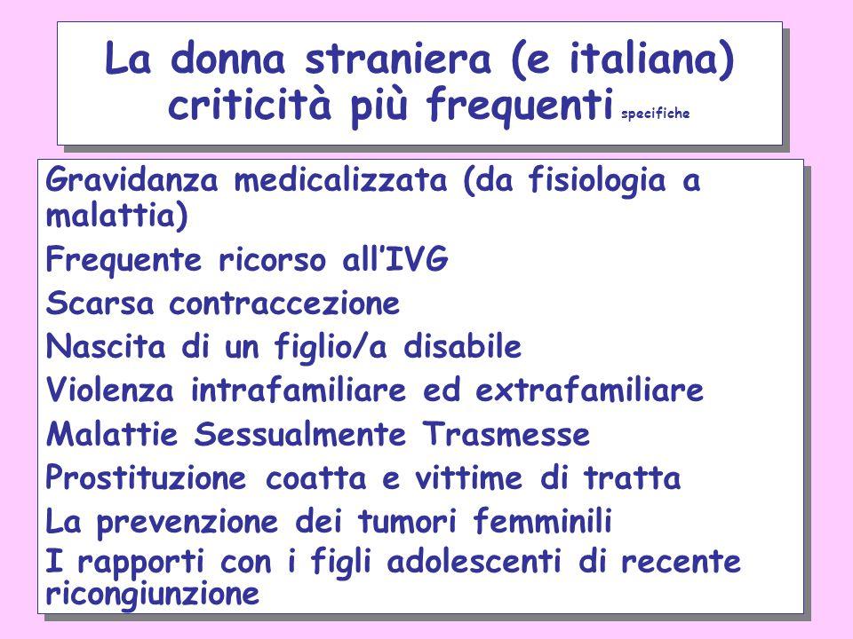 La donna straniera (e italiana) criticità più frequenti specifiche