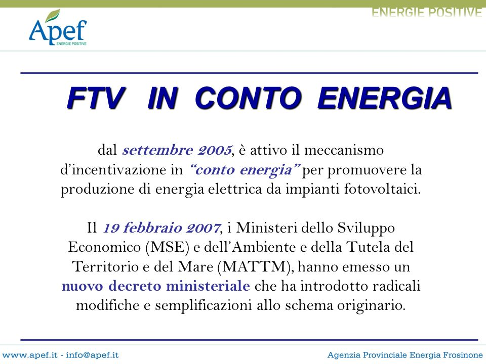 FTV IN CONTO ENERGIA