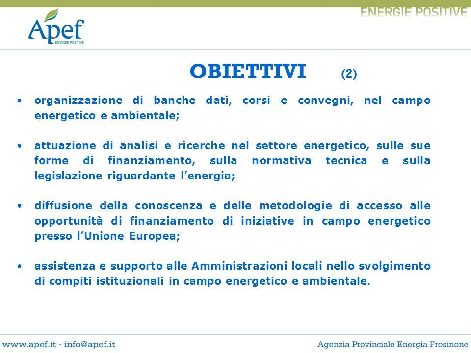 OBIETTIVI (2) organizzazione di banche dati, corsi e convegni, nel campo energetico e ambientale;