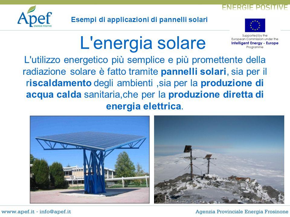 Esempi di applicazioni di pannelli solari