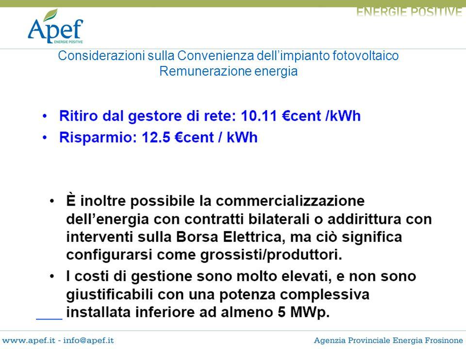 Considerazioni sulla Convenienza dell'impianto fotovoltaico Remunerazione energia