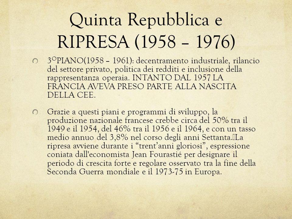 Quinta Repubblica e RIPRESA (1958 – 1976)