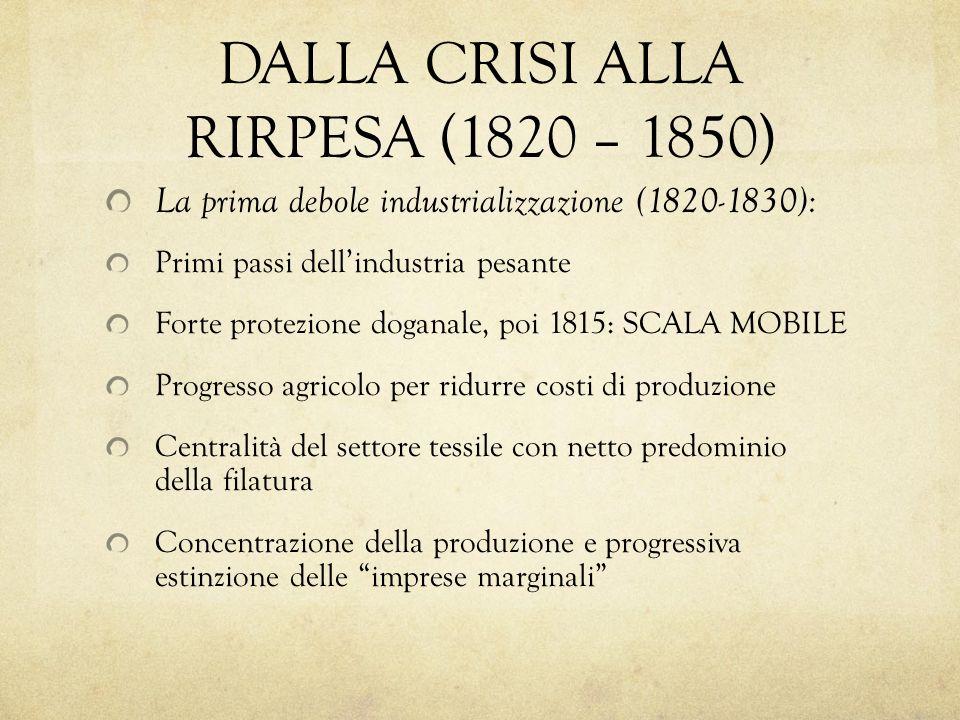 DALLA CRISI ALLA RIRPESA (1820 – 1850)