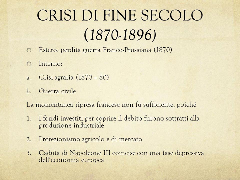 CRISI DI FINE SECOLO (1870-1896)