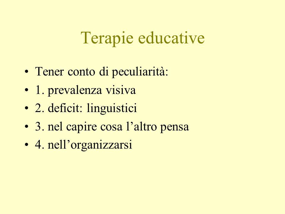Terapie educative Tener conto di peculiarità: 1. prevalenza visiva