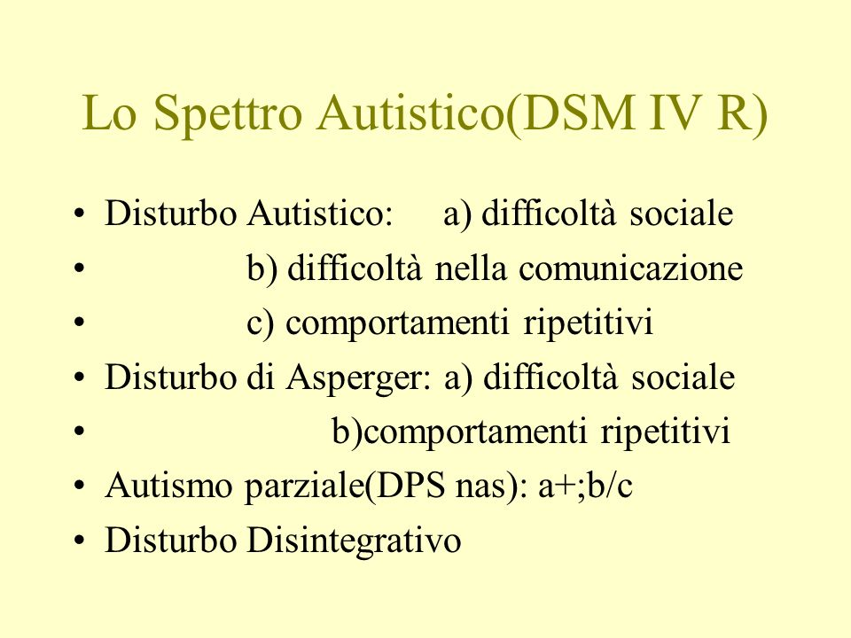 Lo Spettro Autistico(DSM IV R)