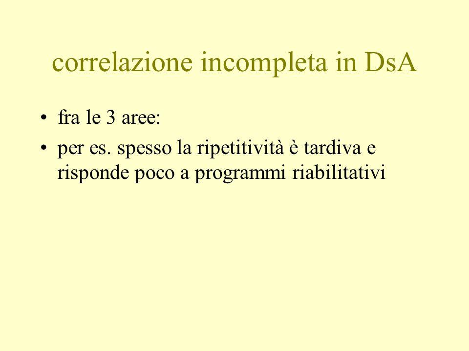 correlazione incompleta in DsA