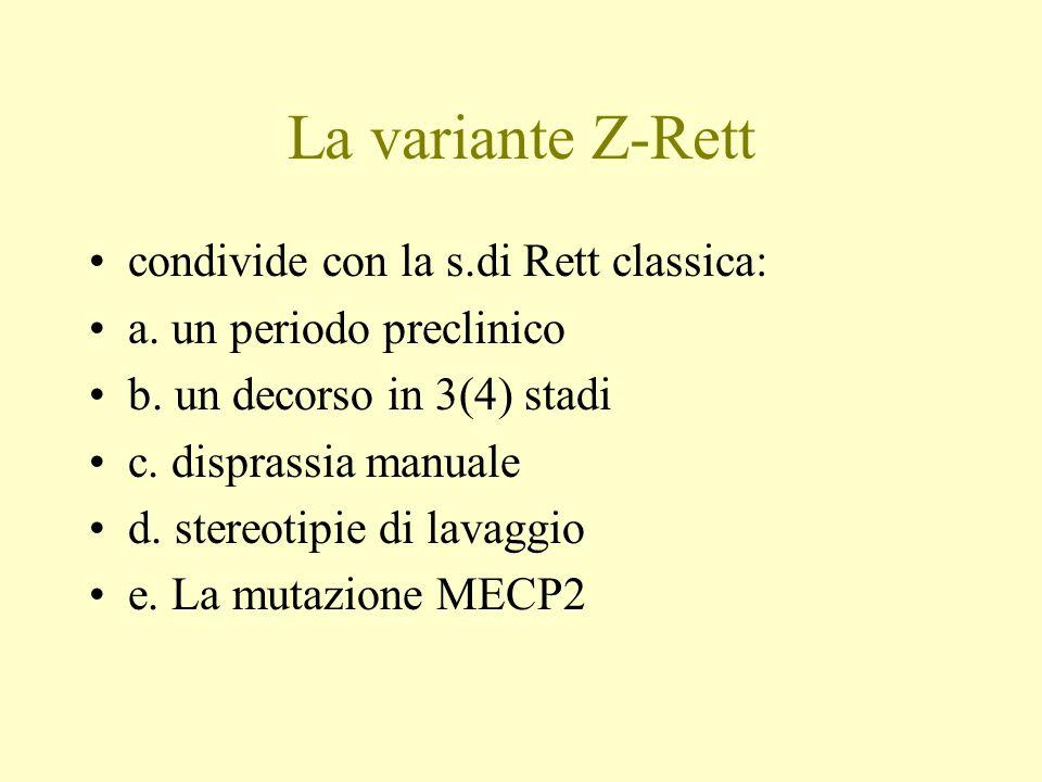 La variante Z-Rett condivide con la s.di Rett classica: