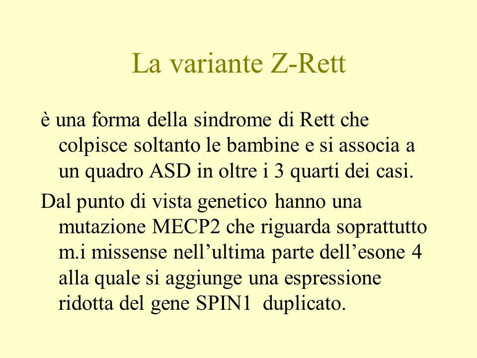 La variante Z-Rett è una forma della sindrome di Rett che colpisce soltanto le bambine e si associa a un quadro ASD in oltre i 3 quarti dei casi.