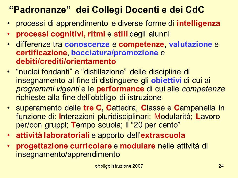 Padronanze dei Collegi Docenti e dei CdC