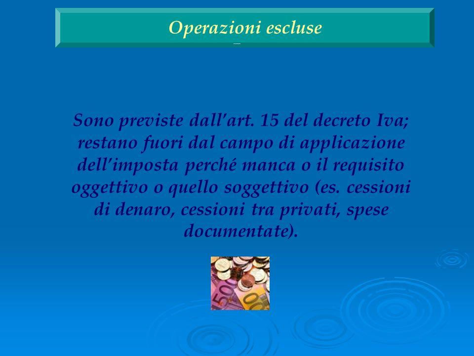 Operazioni escluse Operazioni escluse.