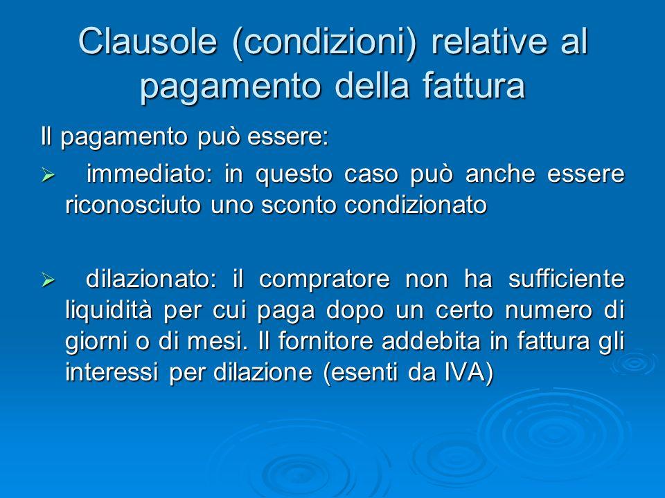 Clausole (condizioni) relative al pagamento della fattura