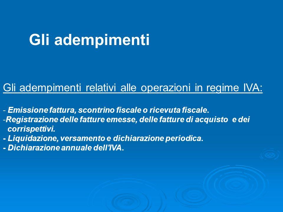 Adempimenti Gli adempimenti. Gli adempimenti relativi alle operazioni in regime IVA: - Emissione fattura, scontrino fiscale o ricevuta fiscale.