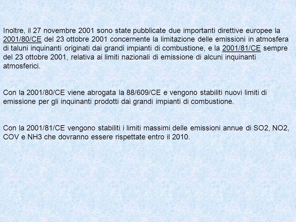Inoltre, il 27 novembre 2001 sono state pubblicate due importanti direttive europee la 2001/80/CE del 23 ottobre 2001 concernente la limitazione delle emissioni in atmosfera di taluni inquinanti originati dai grandi impianti di combustione, e la 2001/81/CE sempre del 23 ottobre 2001, relativa ai limiti nazionali di emissione di alcuni inquinanti atmosferici.