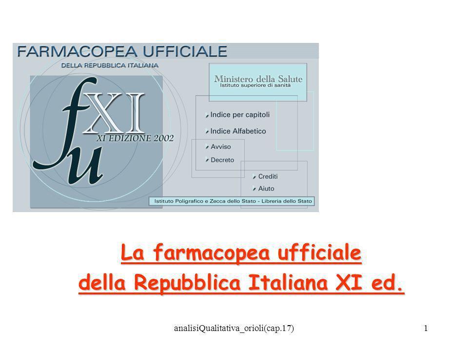 La farmacopea ufficiale della Repubblica Italiana XI ed.