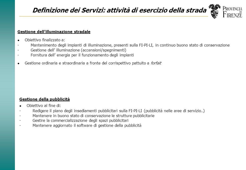 Definizione dei Servizi: attività di esercizio della strada